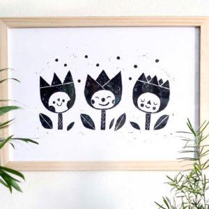 Linogravure impression noir et blanc fait main oeuvre à encadrer image poétique tout en douceur pour chambre enfant bébé salle de jeux tulipes fleurs jardin
