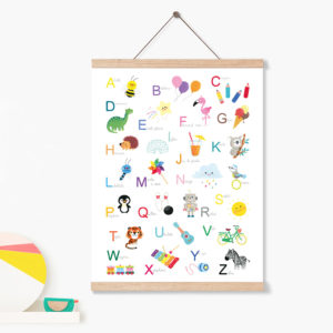 affiche abécédaire éducative pour décoration chambre enfant bébé cadeau naissance anniversaire rentrée