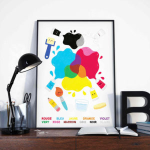 affiche décoration chambre enfant bébé atelier salle de jeu éducative apprendre mélange couleurs peinture