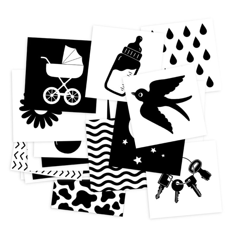 Cartes images bébé à fort contrastes noir et blanc monochrome pédagogie montessori développement éveil sensoriel visuel concentration observation amélioration vue stimulation vision éducation parentalité positive