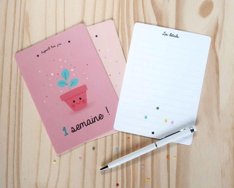 cartes étapes premières semaines bébé petits et grands progrès découvertes papeterie cadeau naissance souvenirs kit