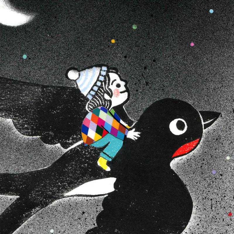 L'hirondelle linogravure décoration pour chambre enfant bébé s'envoler vers étoiles oiseau lune oeuvre originale à encadrer impression image poétique