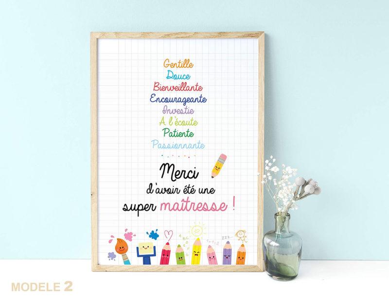 Affiche super maîtresse remerciements cadeaux fin d'année scolaire cadeaux original joli à affiche