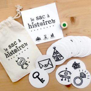 Le sac à histoires pour inventer raconter générateur travailler développer imagination inventivité jeu société nomade de voyage