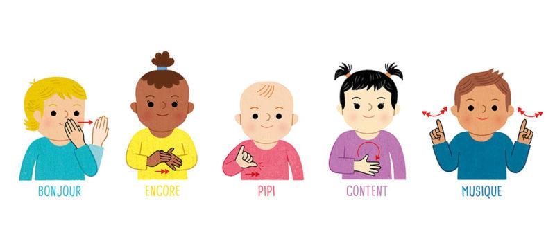 Je signe avec bébé language corporelle langue des signes LSF communiquer échanger avec bébé eveil expression sensoriel décoration chambre éducation parentalité positive premiers mots
