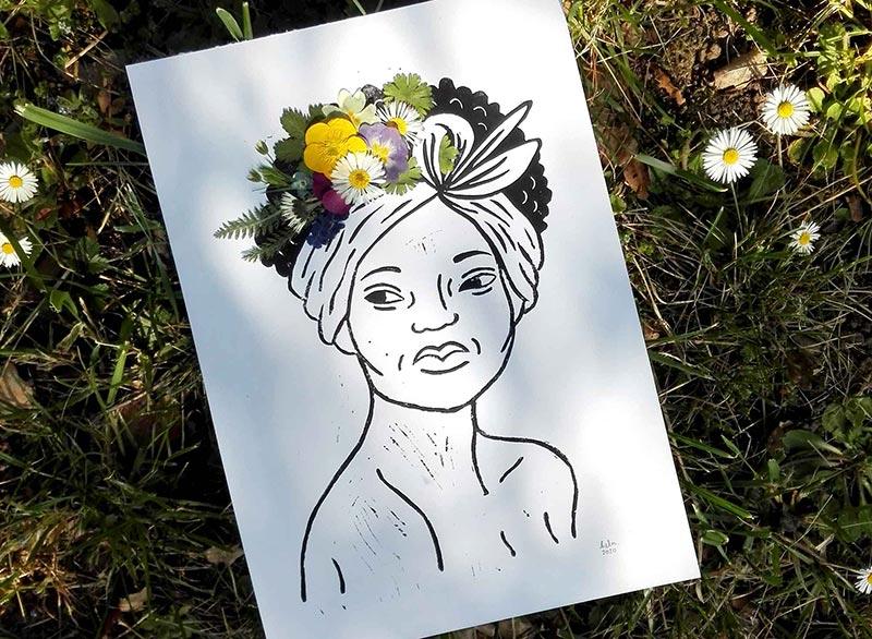 linogravure bucolique fleurs séchées pressées portrait femme couleurs décoration originale tableau végétal floral champs et jardin la nature est belle illustration land art