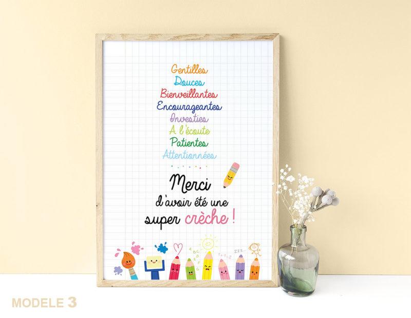 Affiche super crèche remerciements cadeaux fin d'année scolaire cadeaux original joli à afficher encadrer nounou