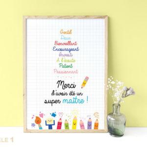 Affiche super maître remerciements cadeaux fin d'année scolaire cadeaux original joli à afficher encadrer