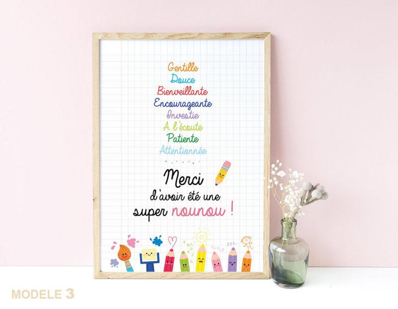 Affiche super nounou remerciements cadeaux fin d'année scolaire cadeaux original joli à afficher encadrer nounou